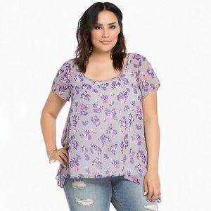 Torrid sheer floral sharkbite top blouse